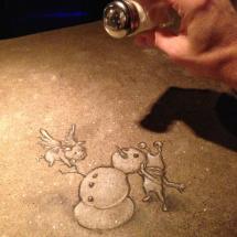 zola snowman with salt